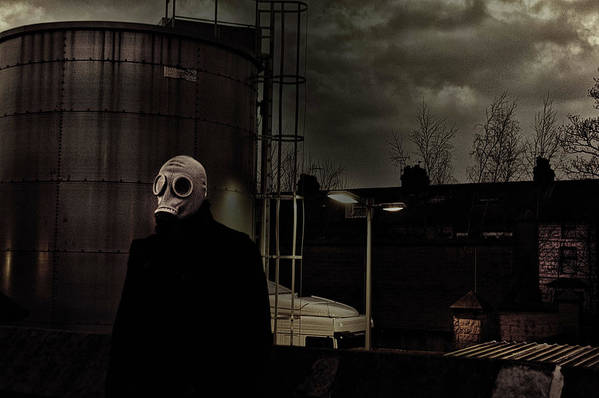 Gas Art Print featuring the photograph the Gas Mask Man by Mark Hunter