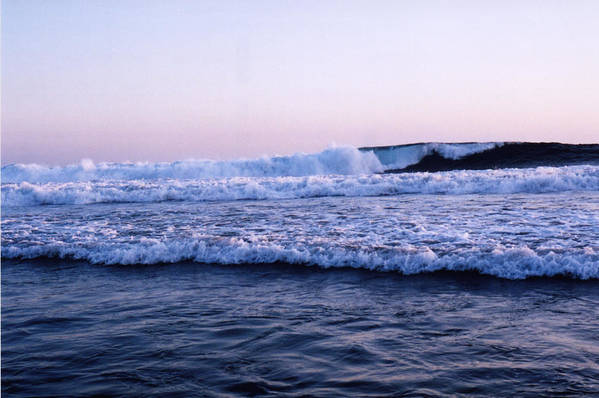 Sunset Art Print featuring the photograph Three Waves by Lyle Crump