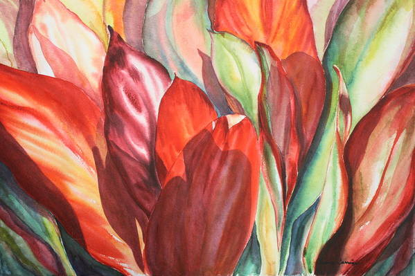 Foliage Of Ti Leaves Bathed In Light Art Print featuring the painting Ti Leaves by Ileana Carreno