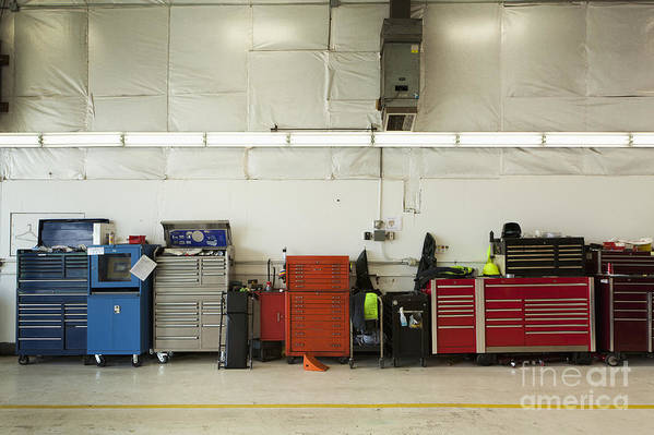 Auto Print featuring the photograph Tool Chests In An Automobile Repair Shop by Don Mason