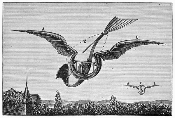 1870 Art Print featuring the photograph Trouv�s Ornithopter by Granger