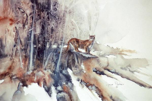 Cougar Art Print featuring the painting Vantage Point by Lynne Parker