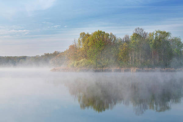 Spring Art Print featuring the photograph Whitford Lake In Fog by Dean Pennala