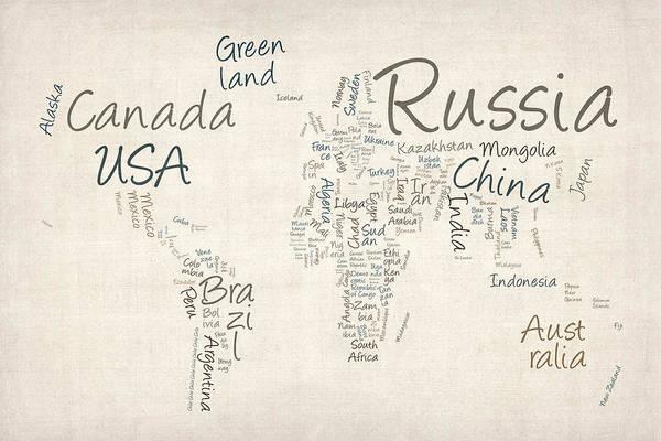World Map Art Print featuring the digital art Writing Text Map Of The World Map by Michael Tompsett
