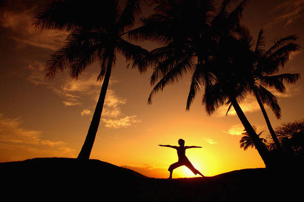 Air Art Print featuring the photograph Yoga At Sunset by Ron Dahlquist - Printscapes