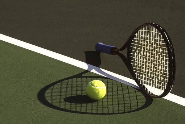 Tennis; Racquet; Ball; Balls; Shadow; Game; Games; Sport; Sports; Shadow; Tennis Ball; Tennis Racquet; Competition Art Print featuring the photograph 10sne1 by Gerard Fritz