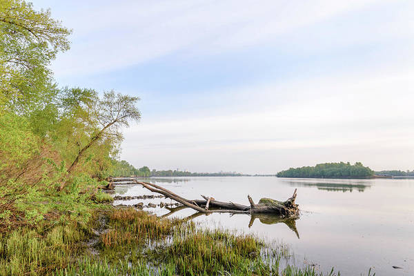 Dnipro Dnieper Art Print featuring the photograph View Of The Dniper River At Morning by Alain De Maximy