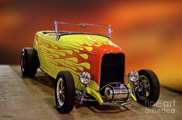 Hot Rod Key Words Art Print featuring the photograph 1932 Ford 'sunset' Studio' Roadster by Dave Koontz