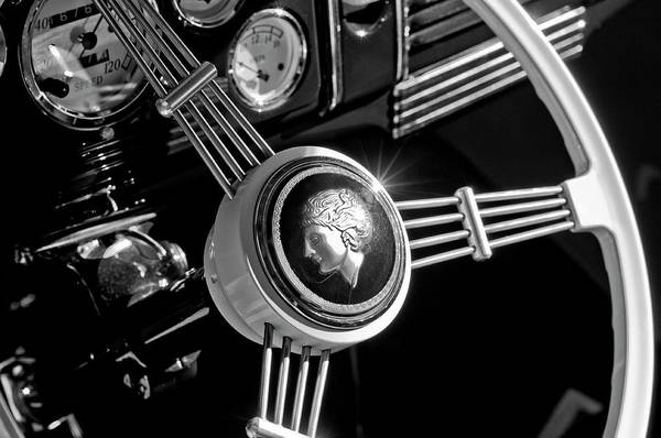 1939 Ford Standard Woody Art Print featuring the photograph 1939 Ford Standard Woody Steering Wheel 2 by Jill Reger