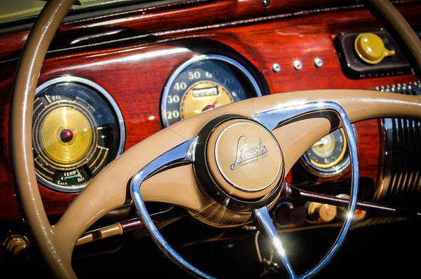 Car Art Print featuring the photograph 1941 Lincoln Continental Cabriolet V12 Steering Wheel by Jill Reger