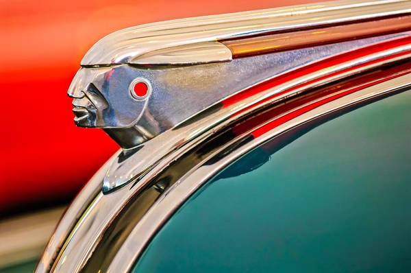 1948 Pontiac Streamliner Art Print featuring the photograph 1948 Pontiac Chief Hood Ornament by Jill Reger