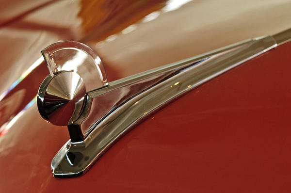 1949 Ford 2 Door Custom Art Print featuring the photograph 1949 Ford Custom Hood Ornament by Jill Reger