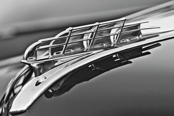 1949 Plymouth Art Print featuring the photograph 1949 Plymouth Hood Ornament 2 by Jill Reger