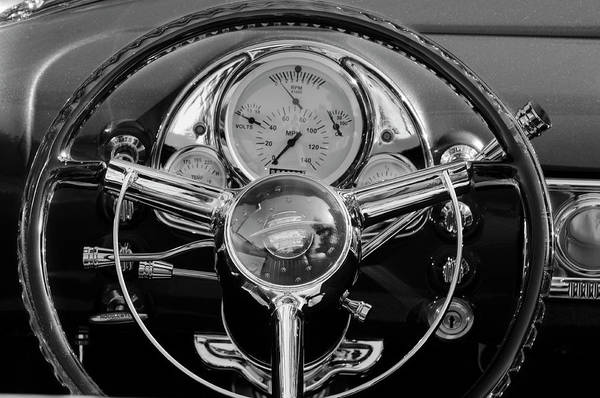 1950 Oldsmobile Rocket 88 Art Print featuring the photograph 1950 Oldsmobile Rocket 88 Steering Wheel 4 by Jill Reger