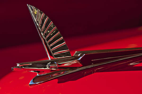 1954 Ford Crestline Sunliner Art Print featuring the photograph 1954 Ford Cresline Sunliner Hood Ornament by Jill Reger