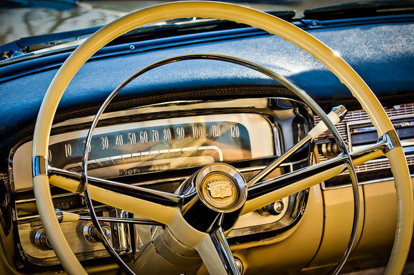1956 Cadillac Steering Wheel Art Print featuring the photograph 1956 Cadillac Steering Wheel by Jill Reger