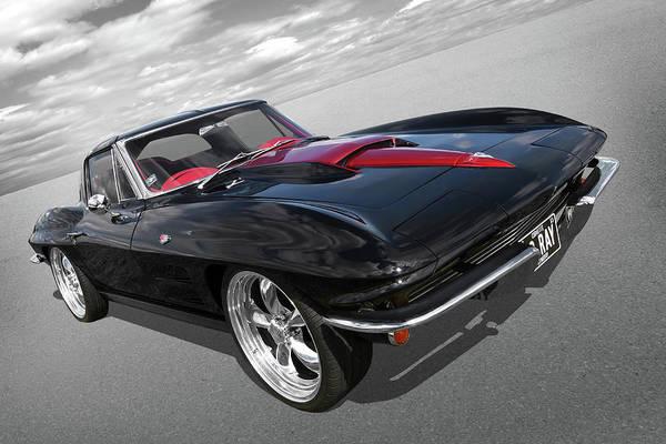 1963 Corvette Stingray Split Window In Black And Red Art Print