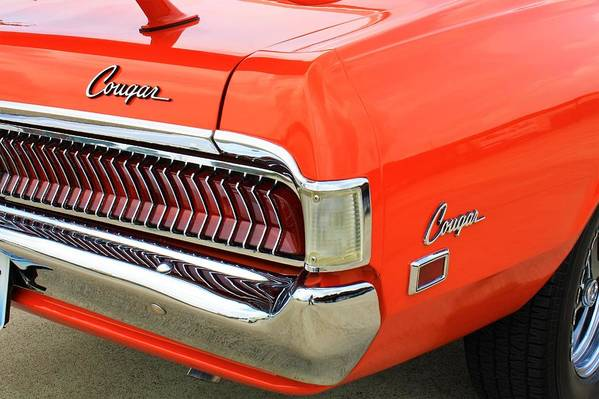Auto Art Print featuring the photograph 1969 Mercury Cougar Tail Light With Logos by WHBPhotography Wallace Breedlove