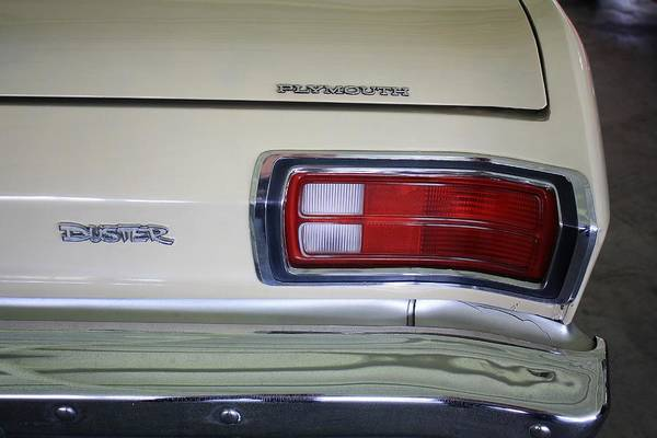 Auto Art Print featuring the photograph 1974 Plymouth Duster Tail Light With Logos by WHBPhotography Wallace Breedlove