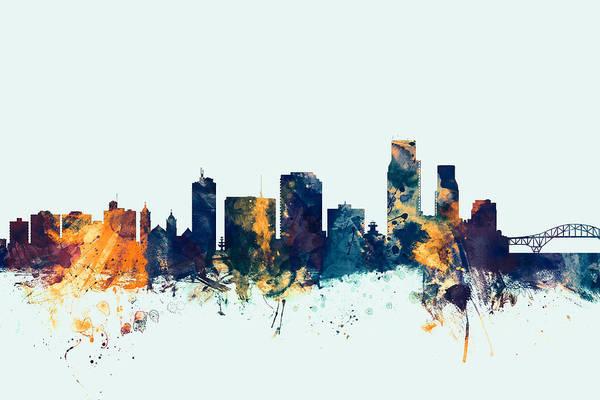 City Art Print featuring the digital art Corpus Christie Texas Skyline by Michael Tompsett
