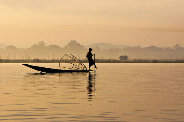 Asia Art Print featuring the photograph Dawn On Inle Lake by Michele Burgess