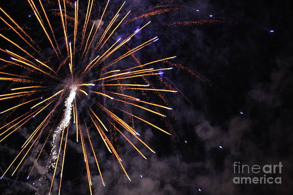 Fireworks Art Print featuring the photograph Fireworks by Diane Falk