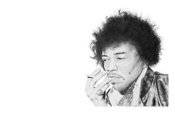 Hendrix Print featuring the drawing Jimi Hendrix by Don Medina