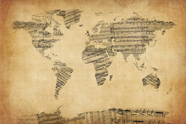 World Map Art Print featuring the digital art Map Of The World Map From Old Sheet Music by Michael Tompsett
