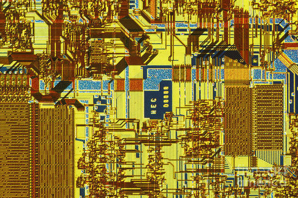 Chip Art Print featuring the photograph Microprocessor by Michael W. Davidson