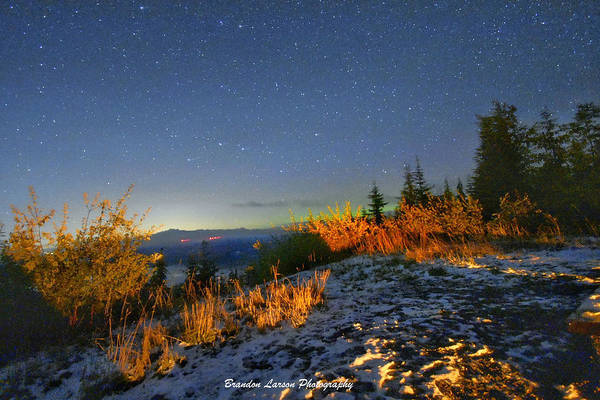 Art Print featuring the photograph Northern Lights At Mount Pilchuck by Brandon Larson