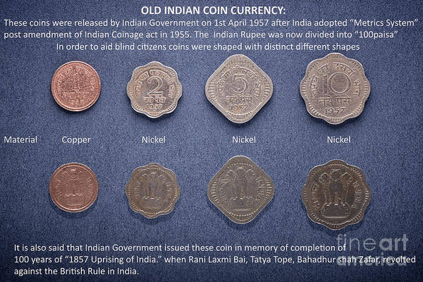 Old Indian Coin Currency Art Print