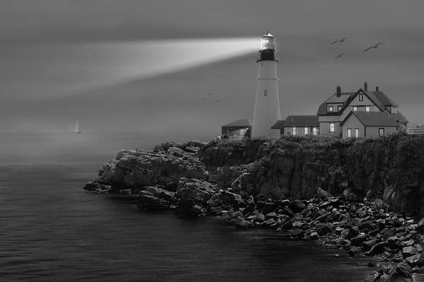 Portland Lighthouse Art Print featuring the photograph Portland Head Lighthouse by Mike McGlothlen