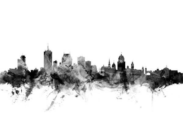City Art Print featuring the digital art Quebec Canada Skyline by Michael Tompsett