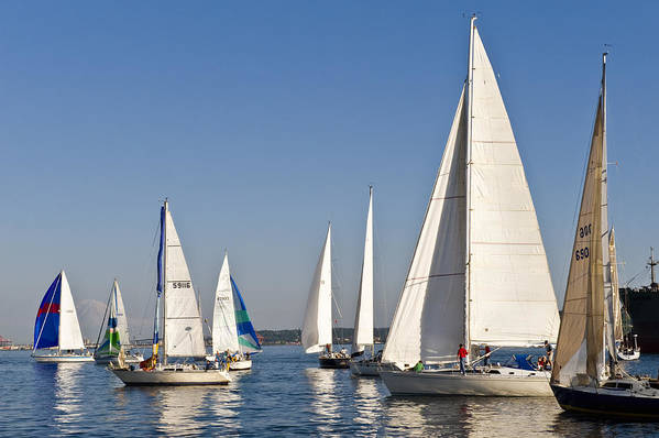 Seattle Art Print featuring the photograph Sailboat Race by Tom Dowd