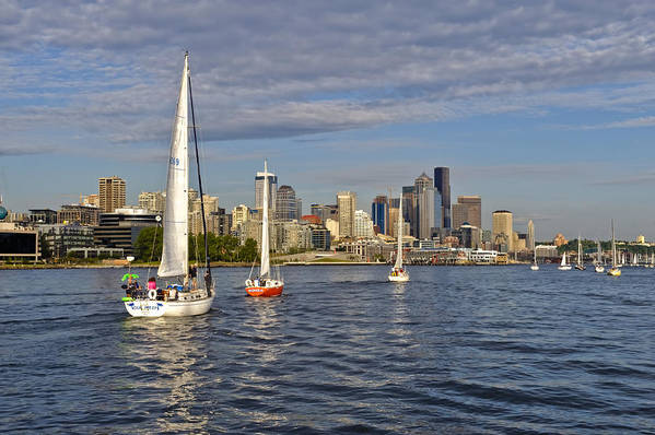 Seattle Art Print featuring the photograph Sailing To Seattle by Tom Dowd