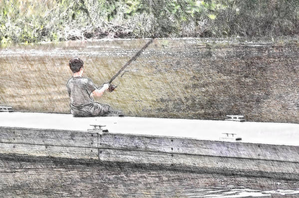 Fishing Art Print featuring the photograph Sitting On The Dock by Donna Bentley