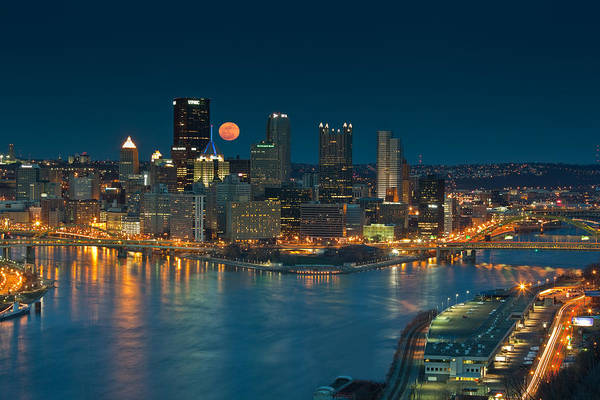 Pittsburgh Art Print featuring the photograph 2011 Supermoon Over Pittsburgh by Jennifer Grover