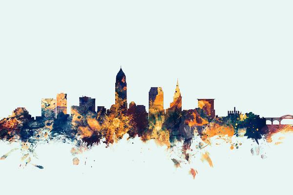 United States Art Print featuring the digital art Cleveland Ohio Skyline by Michael Tompsett