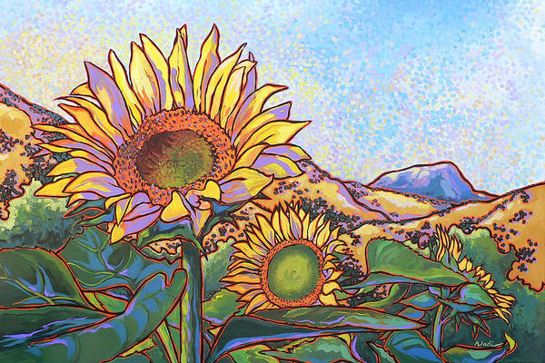 Sunflower Art Print featuring the painting 3 Sunflowers by Nadi Spencer