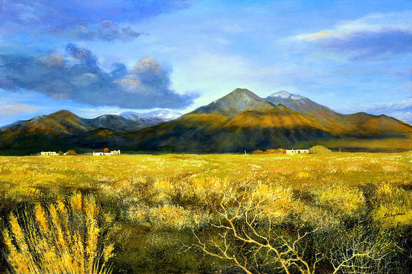 Landscape Art Print featuring the painting Taos Mountain by Brooke Lyman