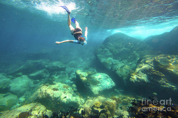 Snorkeling Art Print featuring the photograph Woman Free Diving by Benny Marty
