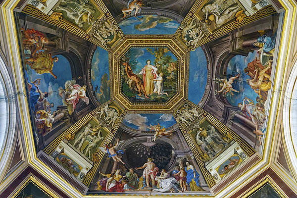 Vatican Art Print featuring the photograph Artistic Ceilings Within The Vatican Museums In The Vatican City by Richard Rosenshein