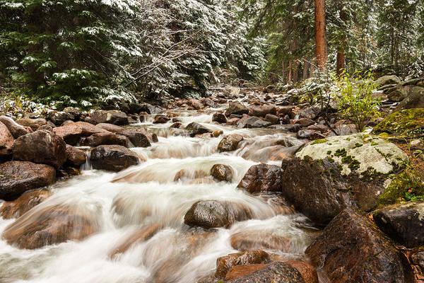 Autumn Snow Gore Creek Vail Pass Colorado Print featuring the photograph Autumn At Gore Creek - Vail Colorado by Brian Harig