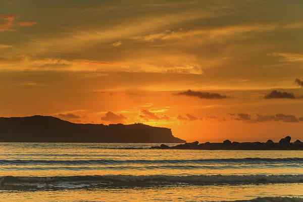 Umina Beach Art Print featuring the photograph Orange Sunrise Seascape And Silhouettes by Merrillie Redden