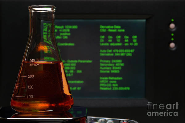 Chemical Art Print featuring the photograph Laboratory Experiment In Science Research Lab by Olivier Le Queinec