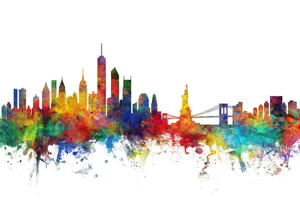 New York City Art Print featuring the digital art New York Skyline by Michael Tompsett