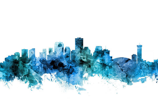New Orleans Art Print featuring the digital art New Orleans Louisiana Skyline by Michael Tompsett