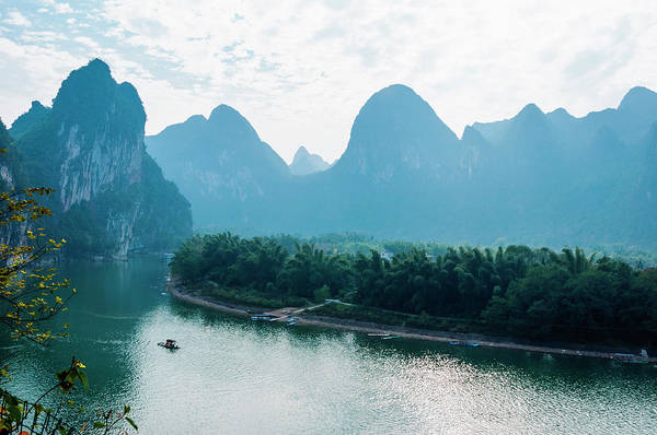 River Art Print featuring the photograph Lijiang River And Karst Mountains Scenery by Carl Ning