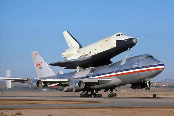 Space Art Print featuring the photograph 747 Takes Off With Space Shuttle Enterprise For Alt-4 by Brian Lockett