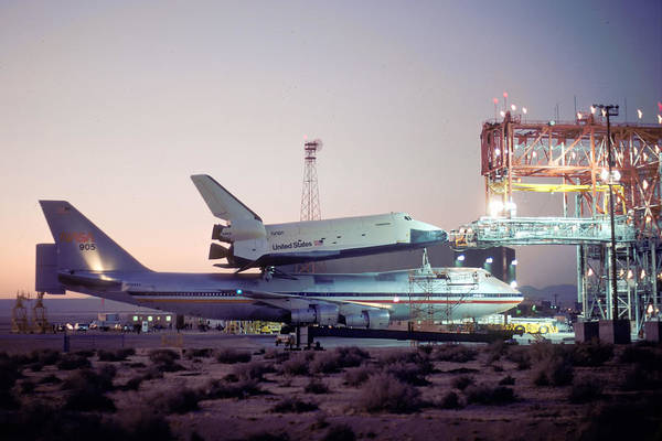 Space Art Print featuring the photograph 747 With Space Shuttle Enterprise Before Alt-4 by Brian Lockett